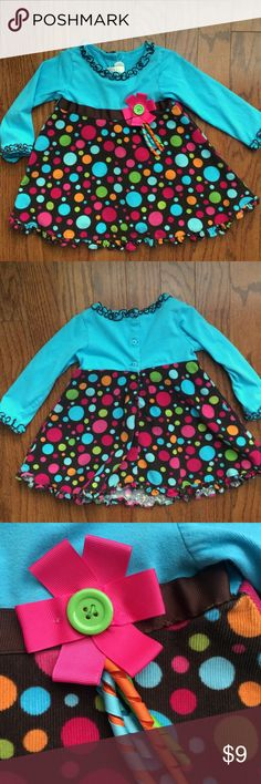 Sophie Rose blue dot candy dress size 4 Some minor sign of wear, pilling as pictured. Otherwise good condition! Sophie Rose light blue dress with candy dots brown skirt, size 4. sophie rose Dresses Casual