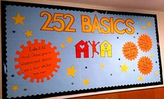 Our 252 Basics board! 252 Basics, Sunday School Rooms, Spring Bulletin Boards, Stage Set Design, Hallway Decorating, Kid Spaces, God Is Good, Church Ideas, Projects To Try