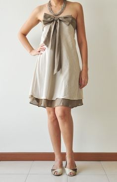 Two tone.... Cream-Brown Cotton Dress 2 Sizes by aftershowershop