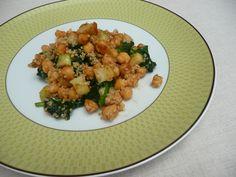 Quinoa com grão e espinafres