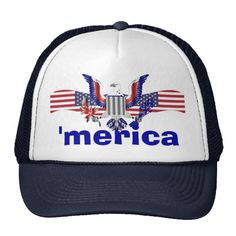 'merica text with eagle and American flag fourth of July hats,