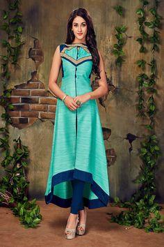 Cyan Color Lace Border Work Silk Kurti - ClickOnBazar