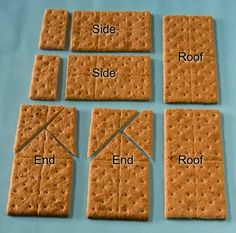 "I'm guessing it only took 73 graham crackers to finally get the cut ones right. They would disintegrate under a knife blade ""How To Make A Gingerbread House From Graham Crackers"" Holiday Treats, Christmas Treats, Christmas Baking, Winter Christmas, Holiday Recipes, Christmas Holidays, Italian Christmas, Graham Cracker Gingerbread House, Gingerbread House Parties"