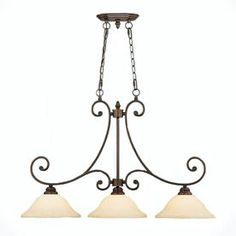 Millennium Lighting Oxford 3-Light Rubbed Bronze Kitchen Island Light With Tinted Shades 1233-Rbz