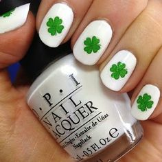The Nail Trail: Day 25 - Happy St. Patricks Day!! White beds with single shamrock in center of each.