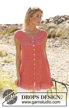 """Knitted DROPS tunic worked sideways in garter st with lace pattern and buttons at the front in """"Safran"""". Size: S - XXXL ~ DROPS Design"""