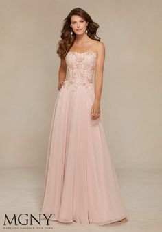 71317 Evening Gowns / Dresses Chiffon with Lace Appliqués and Beading Design