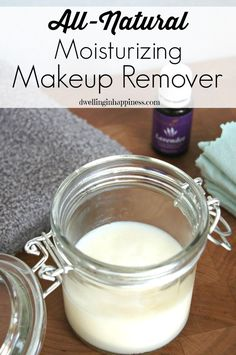 Remove your makeup easily with this all-natural moisturizing makeup remover, using only a few ingredients including essential oils!