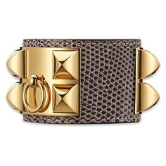 Hermès Collier De Chien Bracelet ($1,325) ❤ liked on Polyvore featuring jewelry, bracelets, lizard jewelry, leather jewelry and leather bangles