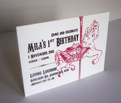 Custom Birthday Invitation  Carousel Horse par SteelPetalPress, $7,00
