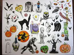 flash tattoo halloween - Boo. candies, bats, cat