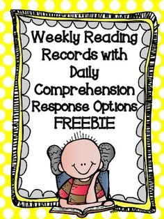 Weekly Reading Records with Comprehension Response Options FREEBIE Guided Reading Groups, Reading Resources, Reading Skills, Teaching Reading, Reading Logs, Reading Activities, Literacy Activities, Literacy Centers, Teaching Tools