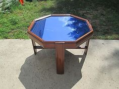 Art Deco 1930`s~40`s Wood & Cobalt Blue Mirror Low Coffee / Cocktail Table