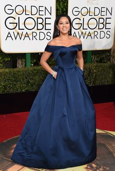 Gina Rodriguez was a big hit at the 2017 #GoldenGlobes as one of the many #women on the #RedCarpet showing off the new trend of dresses not only with #pockets, but actually useful sized ones.  Find a dress with pockets too from #PochePosh!