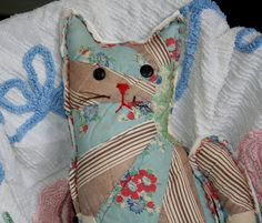 Old Quilty Kitty from authentic vintage quilt by littlebirdlanellc, $20.00