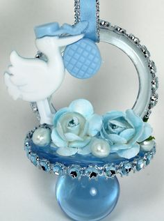 Blue Baby Shower Pacifiers Necklace