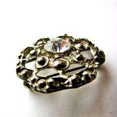 """Rhinestone Brooch - Round Pin - Faceted - Silver Tone - 1"""" Round - by StateAndMainVintage on Etsy"""
