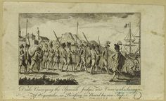Drake conveying the Spanish judges and criminal savages of Anguatulco, in procession on board his own ship.
