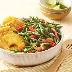 This low-carb side dish is both tasty and striking. Our unique green bean recipeincorporates fresh pineapple and lime for a summery spin on the potluck classic.