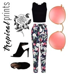 """""""Tropical prints """" by jennifer-annee ❤ liked on Polyvore featuring New Look, Tory Burch, Ray-Ban, Forever 21, tropicalprints and hottropics"""