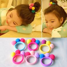 Cheap girls hair accessories, Buy Quality fashion hair accessories directly from China hair accessories Suppliers: Hot Sale 2017 New Cute 3 Balls Elastics Hair Holders Bands Gum Fashion Kids Candy Rubber Bands Headwear Girl's Hair Accessories Diy Hair Bows, Diy Bow, Fashion Kids, Cheap Fashion, Style Fashion, Cute Baby Girl, Cute Babies, Elastic Hair Bands, Ponytail Holders