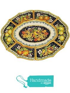 CERAMICHE D'ARTE PARRINI - Italian Ceramic Appetizer Tray Plate Pottery Fruit Painted Made in ITALY Tuscan from CERAMICHE D'ARTE PARRINI since 1979 http://www.amazon.com/dp/B018Y15G3M/ref=hnd_sw_r_pi_dp_FP2exb0V1FMQ1 #handmadeatamazon