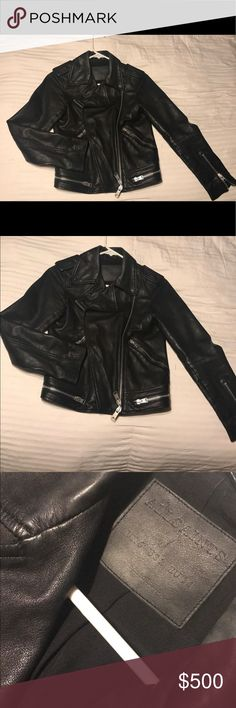 Leather jacket 100% Sheep Leather. Broke in for about a month, worn for a uniform look within the company itself. It holds heat, extremely fashionable. One of my all time favorite brands to wear... I know it's going for a high price and I can't negotiate! But I promise it's worth it ! :) All Saints Jackets & Coats