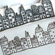 Hand-carved village stamp by Le Petit Pig (Janet Chan) Diy Stamps, Homemade Stamps, Stamp Printing, Screen Printing, Envelopes, Stencils, Eraser Stamp, Stamp Carving, Art Graphique