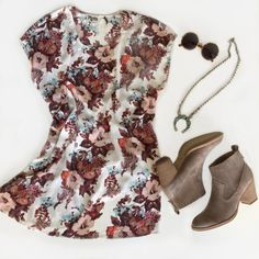 Festival fashion at its best with a floral tunic, round sunnies, boho necklace, and suede booties. Get all the outfit details on the ShopStyle blog and see what we're packing for festival season.