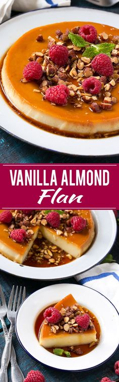 VANILLA ALMOND FLAN RECIPE - This rich and creamy flan is flavored with vanilla and almonds and is finished off with chopped honey roasted almonds and raspberries. Homemade Desserts, Best Dessert Recipes, Desert Recipes, Vegan Desserts, Fun Desserts, Mexican Food Recipes, Sweet Recipes, Delicious Desserts, Yummy Food