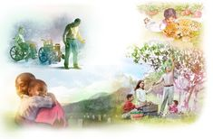 A wheelchair-bound man walks, a girl cuddles a leopard, a family picks fruit, people are reunited in the resurrection