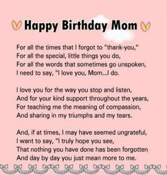 happy birthday mom Birthday message for mom quotes - mom Happy Birthday Mom Letter, Happy Birthday Mom Images, Happy Birthday Mom From Daughter, Birthday Message For Boyfriend, Birthday Wishes For Boyfriend, Birthday Card Sayings, Birthday Cards For Mom, Birthday Wishes Quotes, Birthday Messages