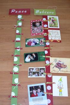 Could also use to display previous years photos of kids with Santa or christmas cards from years past Hanging Christmas Cards, Christmas Card Display, Christmas Card Pictures, Christmas Card Holders, Christmas Photo Cards, Christmas Signs, Christmas Fun, Holiday Fun, Christmas Decorations