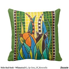 Hide And Seek - Whimsical Cat Art Throw Pillow by #dorahathazi For kids, cat art, cat painting, for children, cats, art, cats, whimsical, mischievous, mosaic, quirky, colorful, gatos, kitty, kitten, feline, fantasy, pet, pets, painting, nursery, watercolor, beautiful, artwork, sweet, funny, bright colors, meow, playful, bright, lovely, lovable, catlover, catlovers, cute cat, cute kitty, colorful cat, kittens playing, whimsy cats, cute kittens, colourful cats, for kids room, Dora Hathazi…