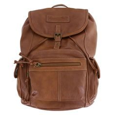"""Carry all your essentials in this stylish American Eagle backpack. It features a tumbled outer with two zippered front pockets, two side pockets with magnetic snaps, front flap with magnetic snap, drawstring close, lined interior with two open side pockets and one zippered pocket, hanging loop, and two adjustable shoulder straps. 15""""HX13""""WX7""""D. 100% Vinyl."""
