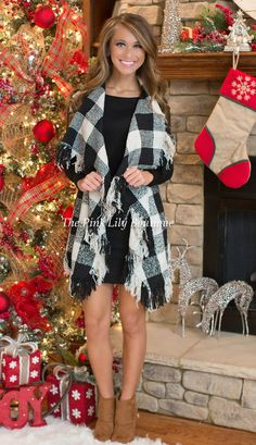 Rags To Riches Black Checkered Cardigan - The Pink Lily Boutique