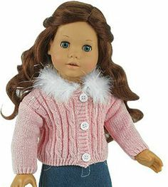 Pink CHENILLE Cardigan Sweater w/ Feather Collar For American Girl Doll Clothes #Sophias #DollClothingAccessories