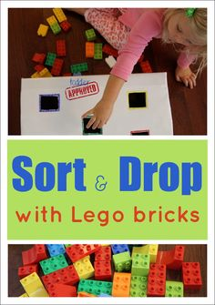 Sort and Drop Color Activity with Lego Bricks from Toddler Approved