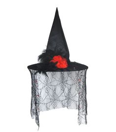 Witch Hat With Spider Web Lace Veil Red