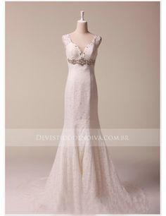 Pérola Tule Renda Sereia Decote em V Sem Mangas Vestido de Noiva