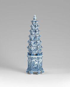 e Grieksche A Pottery (Adriaen Kocx)  – The Greek A Pottery , Delft (manufacturer Dutch 1687–1701), Pyramidal flower vase, c. 1690, earthenware (tin-glazed), underglaze cobalt blue. Purchased, NGV Women's Association, 2014 (2014.288.a-g).