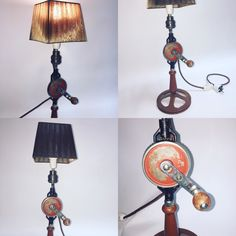 "Table lamp made from old hand drill , producing plant ""ZTM"" Khariv Ukraina in the period 1956-1966 years. Installed a retro cord fabric braid , completely safe . All other parts are completely original. For lamp socket E14."