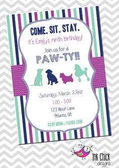 Pink puppy printable invitation puppy dog personalized birthday pink puppy printable invitation puppy dog personalized birthday invite pink blue and green puppy party adelyns pink puppy party pinterest puppy filmwisefo