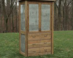 Rustic Tall Storage Reclaimed Barn Wood w/Tin Doors by Keeriah