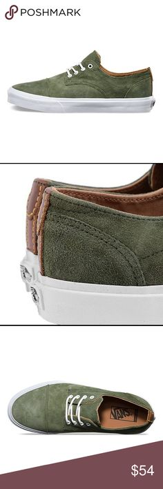 Vans Dillon California Olive Suedes' The Dillon CA of the Vans California Collection is a retooled takedown from the highly limited Syndicate assortment. Based on menswear dress shoes it has Premium full grain leather heel details and a herringbone textile lining enhance the rich and ductile texture, while waxed, round cotton laces and white eyelets provide a refined splash of color contrast. A discrete pigskin Vans label on the tongue completes this carefully calibrated look. Vans Shoes…