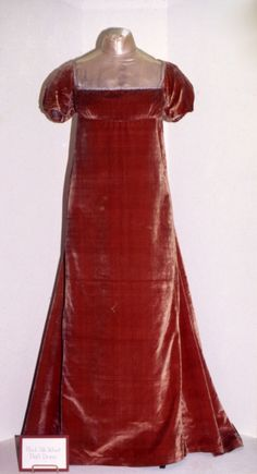 red velvet dress owned by Dolley Madison, circa 1810-20.