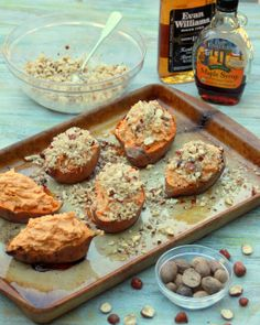 Twice Baked Bourbon Hazelnut Sweet Potatoes | A Spicy Perspective #sweetpotatoes #hazelnut #bourbon