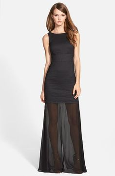 Nicole+Miller+Sheer+Hem+Metallic+Trumpet+Gown+available+at+#Nordstrom