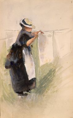 Hodgkins, Frances Mary :[Phemie hanging out the laundry. Laundry Art, Victorian Costume, Neo, Gcse Art, Hanging Out, Figurative, New Zealand, Mary, Portraits