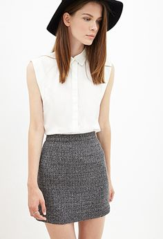 speckled tweed mini skirt and white blouse